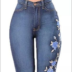 High waist stretch skinny Embroidered Pencil Jeans